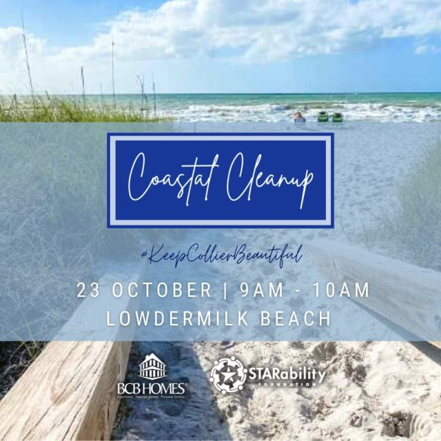 Join us this Saturday, October 23rd along with @starabilityfdn Where: Lowdermilk Beach When? Saturday, October 23rd, 9am-10am #LuxuryHomesSarasota #luxuryhomenaplesfl #beachlife #naplesflabeaches #luxuryhomesnaplesfl #naplesfl #dreamhomegoals #bcbhomes #luxuryhomessouthwestflorida #beachcleanup
